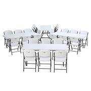 Lifetime Four 6' Stack Tables and 24 Commercial Chairs - White