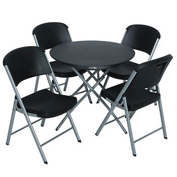 "Lifetime 33"" Round Folding Table and 4 Chairs - Black"