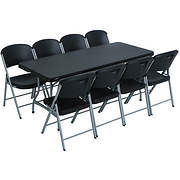 Lifetime 6' Stacking Table and 8 Chairs - Black