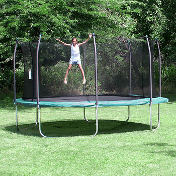 Skywalker Trampolines 15' Square Trampoline with Enclosure - Green
