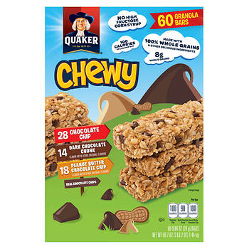 Quaker Chewy Granola Bars Variety Pack, 60 ct.