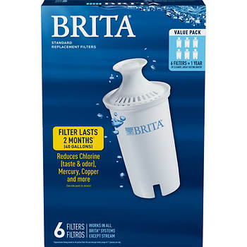 Brita Pour-Through Pitcher Replacement Filter, 6 pk.