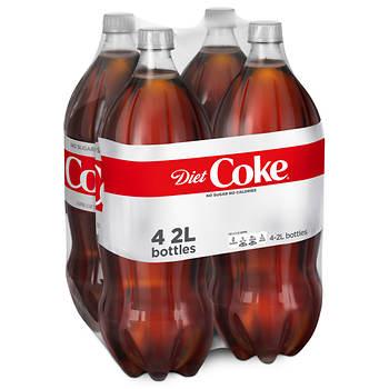 Diet Coke Soda, 2 Liter, 4 Bottles