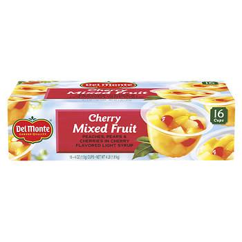 Del Monte Cherry Mixed Fruit Cups, 16 pk./4 oz.