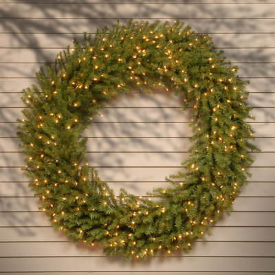 "60"" Pre-Lit Norwood Fir Christmas Wreath - Clear"