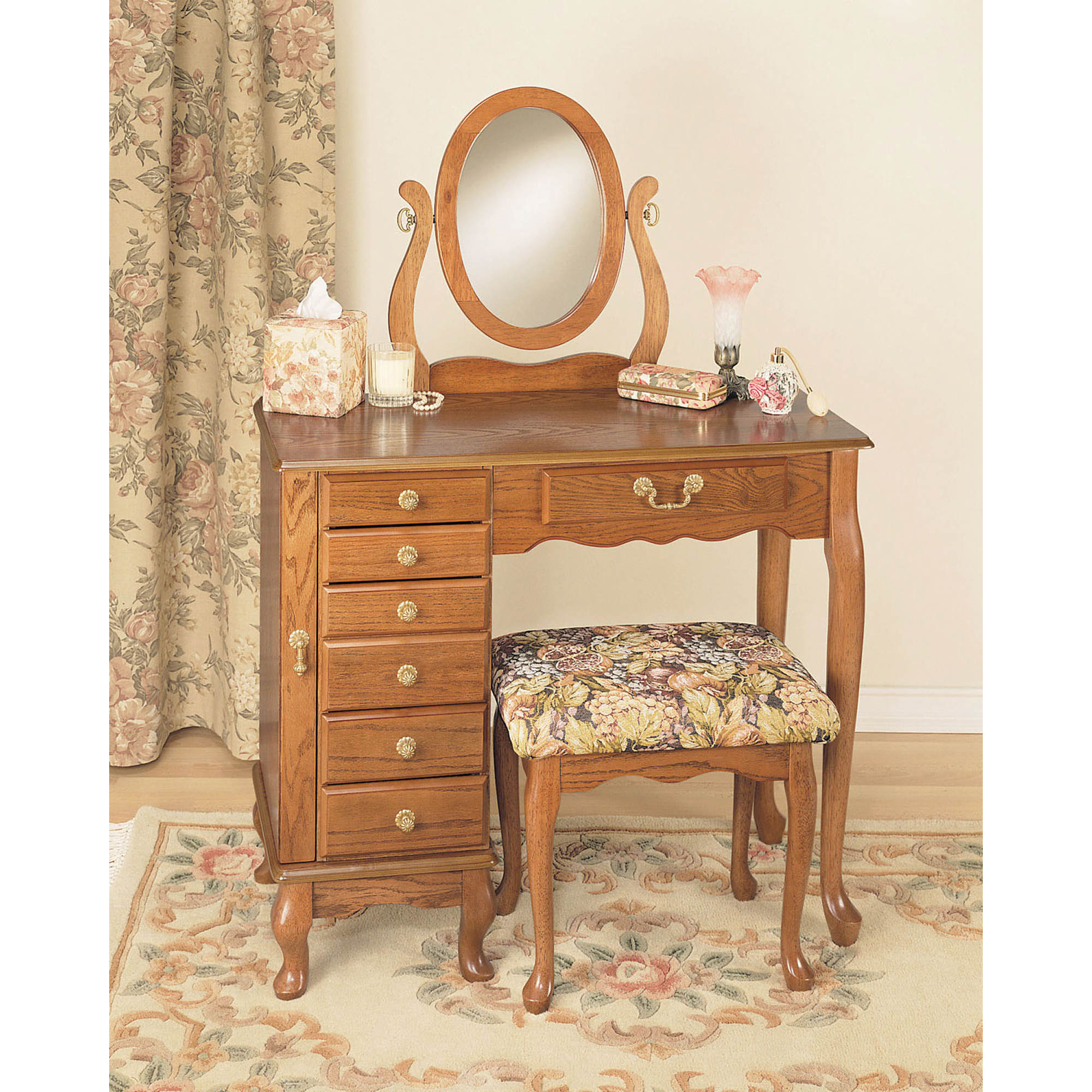 powell jewelry armoire vanity mirror and bench. Black Bedroom Furniture Sets. Home Design Ideas