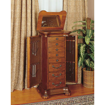Powell Jewelry Armoire - Wilmington Cherry/Burl