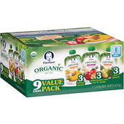 Gerber Organic Baby Food 2nd Variety Pack, 9 ct./3.5 oz.