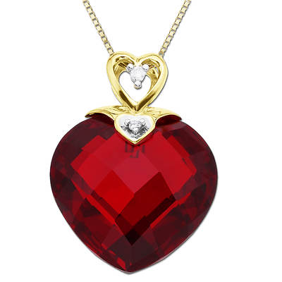14k Diamond and Created Ruby Heart Pendant