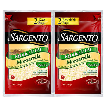 Sargento Reduced Fat Mozzarella Shredded Cheese, 2 pk./12 oz.