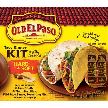 Old El Paso Hard & Soft Taco Dinner Kit, 3 pk.