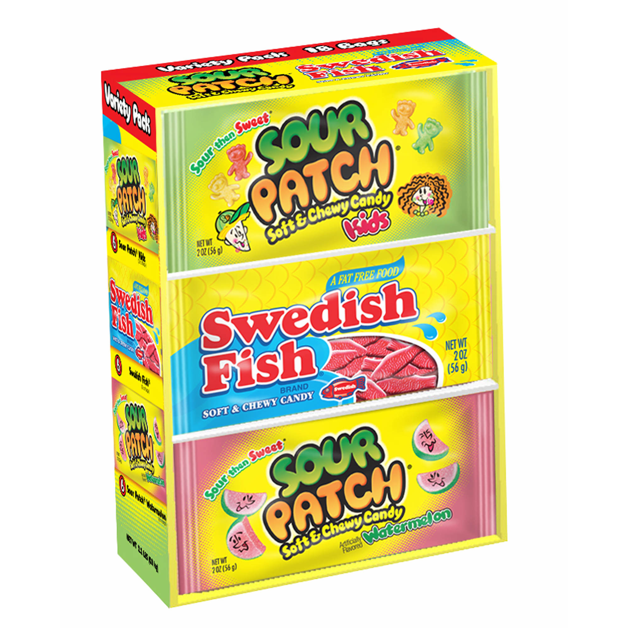 Swedish fish and sour patch variety pack 2 oz 18 pk for Sour swedish fish