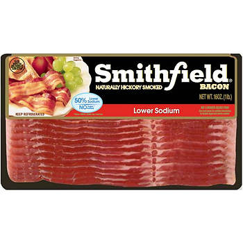 Smithfield Low Sodium Bacon, Naturally Hickory Smoked, 3 pk./16 oz.