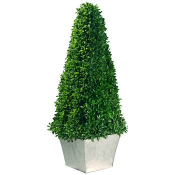 "24"" Indoor/Outdoor Artificial Mini Boxwood Topiary Tree"