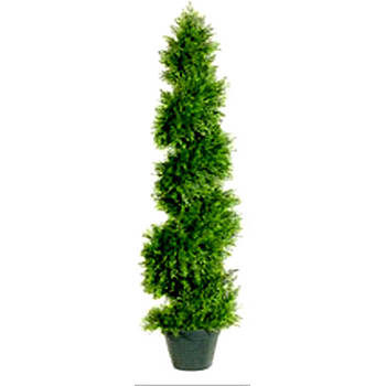 "48"" Indoor/Outdoor Artificial Upright Juniper Spiral Tree with Artificial Trunk"