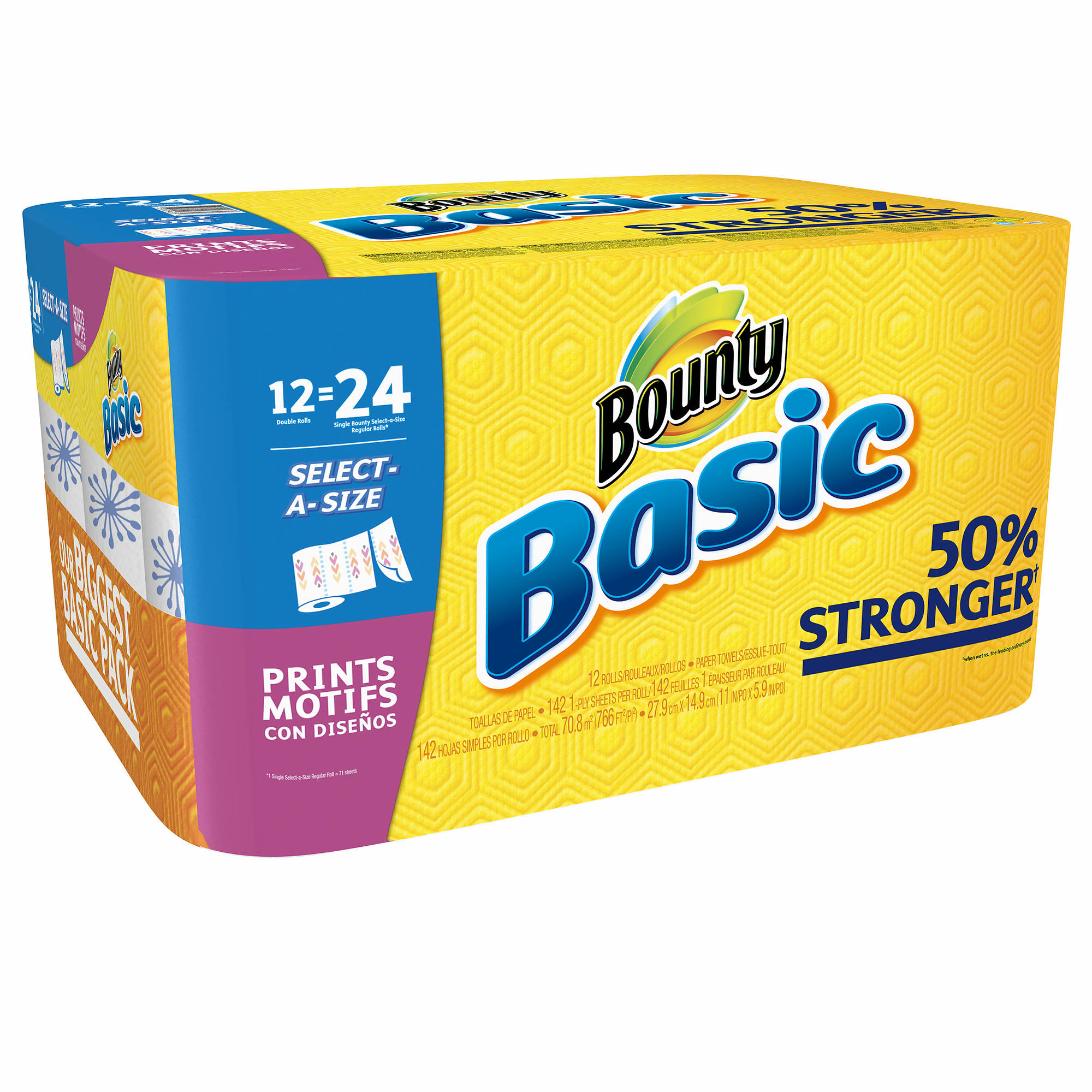 Bulk Bounty Paper Towels Wholesale: Bounty Basic Select-A-Size Paper Towels, Print, 12 Double