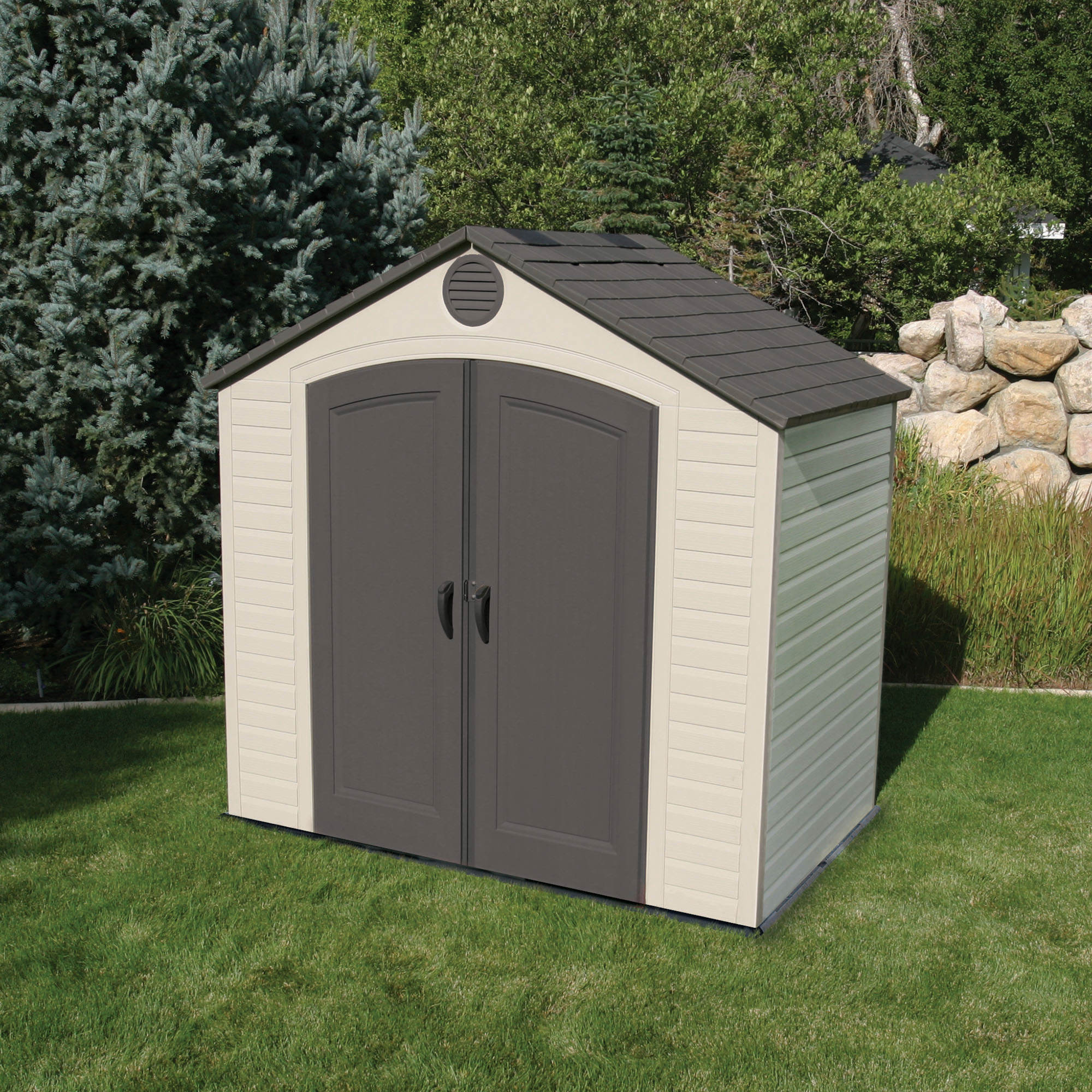 Lifetime 8 39 x 5 39 outdoor storage shed bj 39 s wholesale club for Garden shed for lawn mower