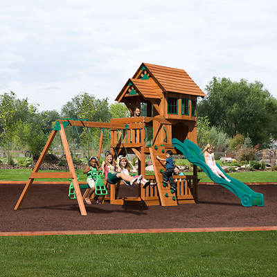Adventure Playsets Windsor II Swing Set with Upper Deck Lodge