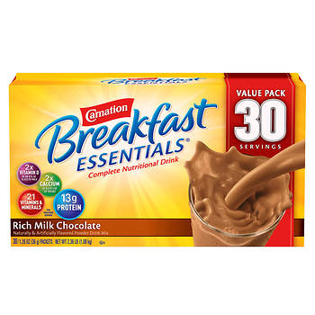 Carnation Breakfast Essentials Complete Nutritional Drink, Rich Milk Chocolate, 30 pk./1.26 oz.