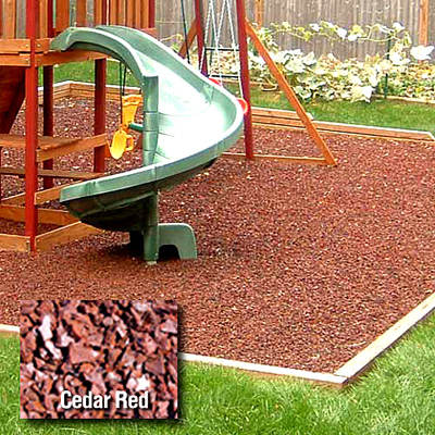 Kidwise Playground Rubber Mulch and Fanny Pad Combo - Cedar Red