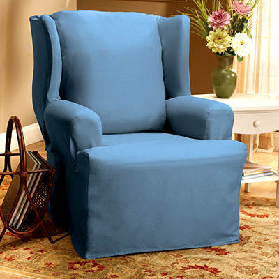 Sure Fit Cotton Duck Wing Chair Slipcover - Bluestone