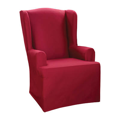 Sure Fit Cotton Duck Wing Chair Slipcover - Claret