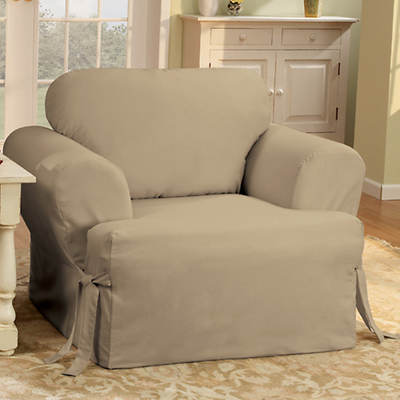 Sure Fit Cotton Duck T-Cushion Chair Slipcover - Linen