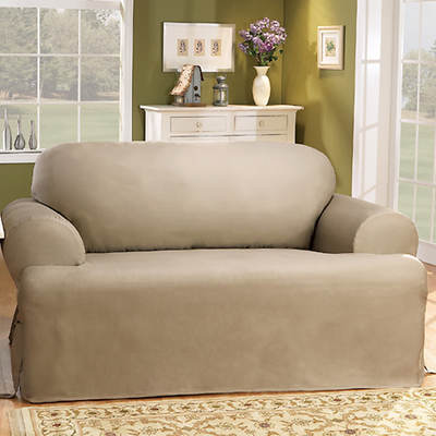 Sure Fit Cotton Duck T-Cushion Sofa Slipcover - Linen