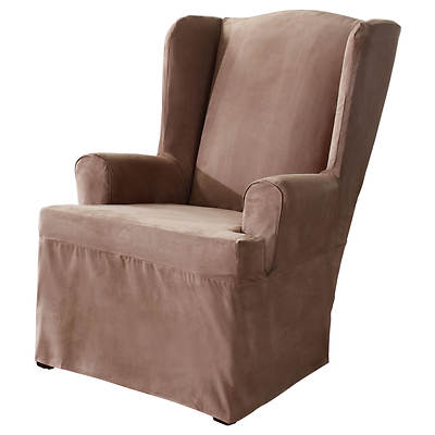 Sure Fit Soft Suede Wing Chair Slipcover - Sable