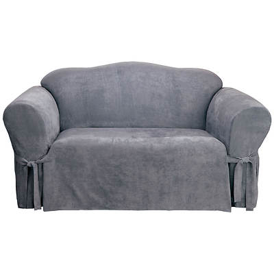 Sure Fit Soft Suede Sofa Slipcover - Smoke Blue