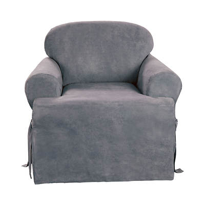 Sure Fit Soft Suede T-Cushion Chair Slipcover - Smoke Blue