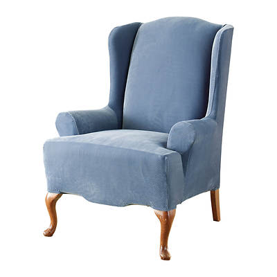 Sure Fit Stretch Pique Wing Chair Slipcover - Federal Blue