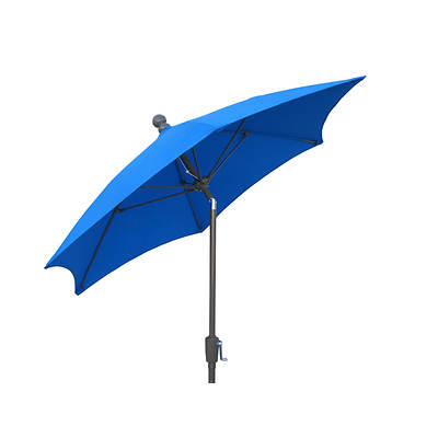 "FiberBuilt 7'6"" Patio Tilt Umbrella - Pacific Blue/Champagne-Bronze"