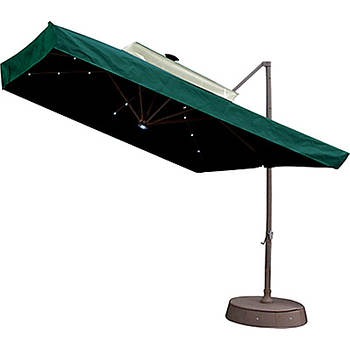 "Southern Patio 8'6"" Offset Umbrella with Netting and Solar Lights - Green"