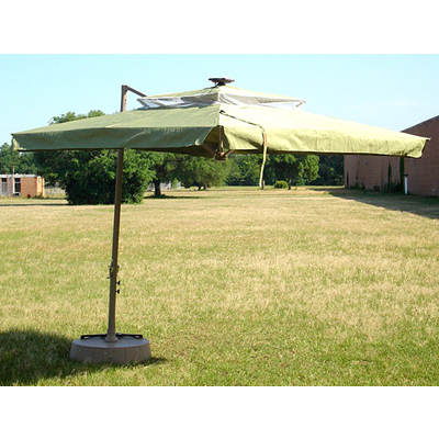 "Southern Patio 8'6"" Offset Umbrella with Netting and Solar Lights - Sage"
