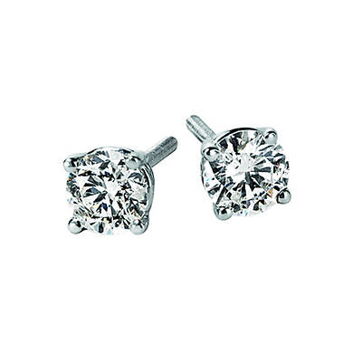 .50 Carat Diamond Solitaire Stud Earrings in 14K White Gold