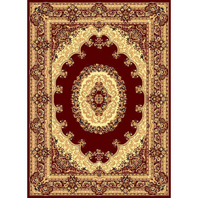 "Dynasty 7'10"" x 10'10"" Area Rug (Medallion Red/Traditional)"