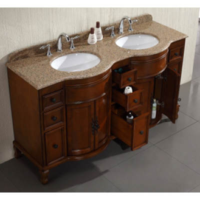 Cambridge Double-Sink Bathroom Vanity with 9 Drawers and 2 Cabinets - Light Cherry