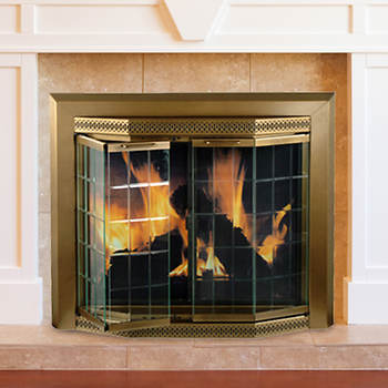 Pleasant Hearth Grandior Bay Medium Bifold-Style Glass Door Fire Screen - Antique Brass