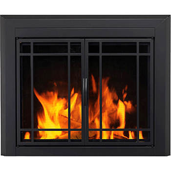 Pleasant Hearth Easton Prairie Large Cabinet-Style Glass Door Fire Screen - Black