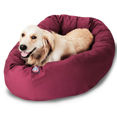Majestic Pet Products 40 Large Twill Bagel Donut Pet Bed for Dogs 45-70 lbs. - Burgundy