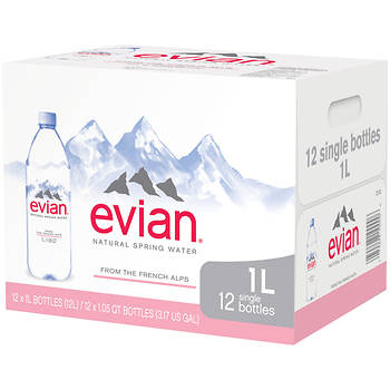 Evian Natural Spring Water, 12 pk./1L