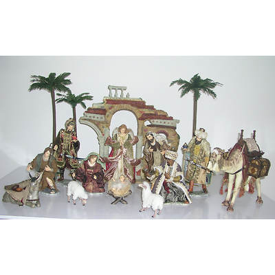 Living Home Deluxe 16-Piece Porcelain Nativity Set with Creche