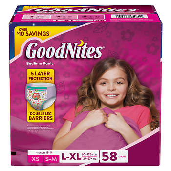 GoodNites Bedtime Bedwetting Underwear for Girls, Size L/XL, 58 ct.