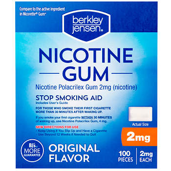 Berkley Jensen 2mg Original Nicotine Gum, 2 pk./100 ct.