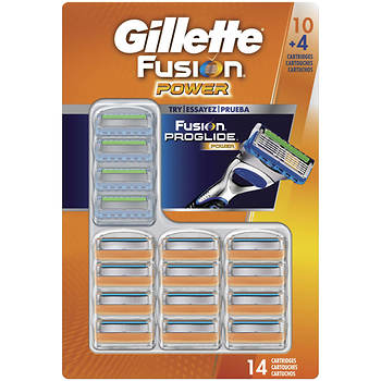 Gillette Fusion Power Razor Blade Refills, 10 Count Plus Fusion Proglide Power Razor Blade Refills, 4 Count