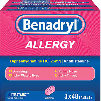 Benadryl Allergy 25mg Ultratabs, 144 ct.