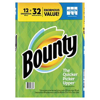 Bounty Select-A-Size Paper Towels, 12 Enormous Rolls - White