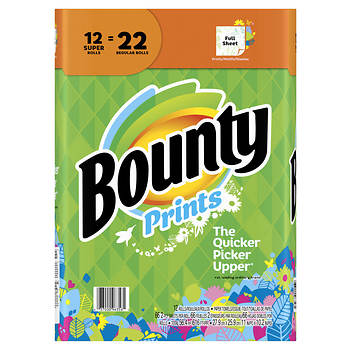 Bounty Paper Towels, 12 Super Rolls - Print
