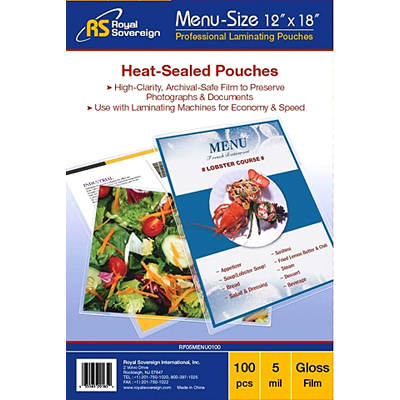 Royal Sovereign Menu-Size Heat-Sealed Pouches, 100 Count